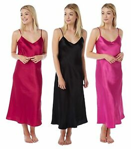 Image is loading Ladies-Womens-Silky-Satin-Chemise-Long-Nightdress-Nighty- a29bebad5