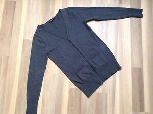 Damen-Pullover-Strickjacke-Groesse-M-grau