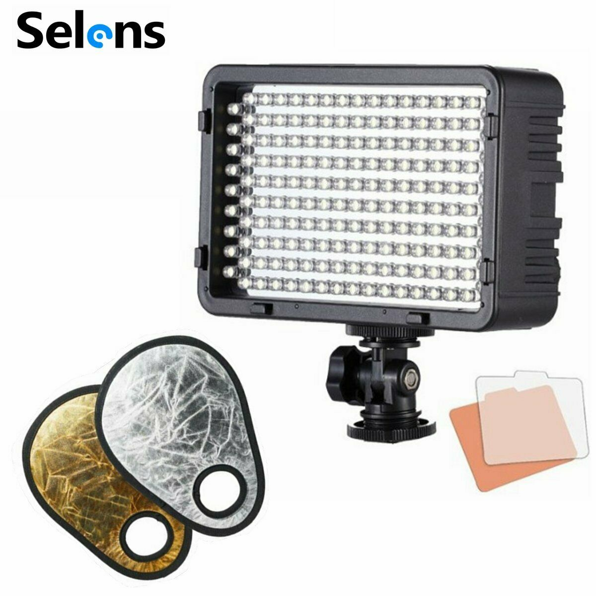 Dimmable LED Continuous Light Lamp + 2in1 Gold & Silver Reflector fr Photography