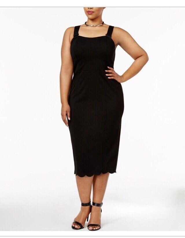 Melissa McCarthy Seven7 Trendy Plus Größe Scalloped Midi Sheath Dress Plus 1x