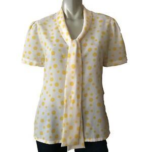 Vintage Judy Bond Blouse Top White Yellow Polka Dot Short Sleeve Women's Size 12
