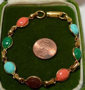 Vntg-Scarabee-Coleoptere-Lien-Orange-Vert-Turquoise-Cab-or-Ton-8-034-Bracelet-7N