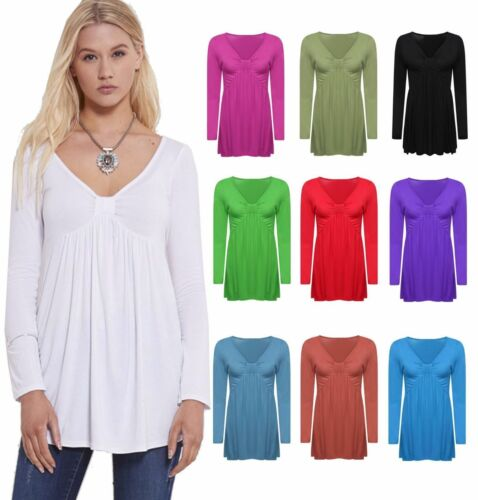PS Women Ladies Long Sleeve Dress Bow Knot Front Ruched Flared Swing Tunic Top