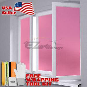 Frosted Film Pink Glass Home Bathroom Window Security Privacy Sticker Sheet Ebay