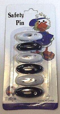 Fancy (6) Hijab White & Black Pins - Islamic Scarf Shayla Hijab Safety Pins