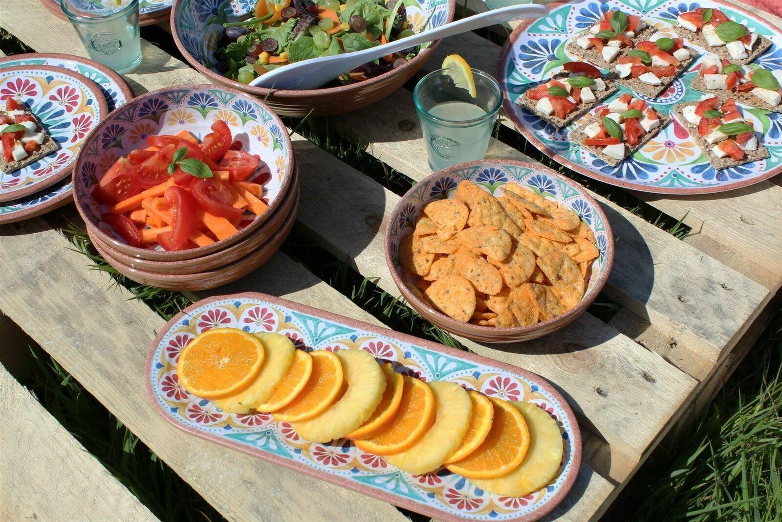 Epicurean Set of 2 Rio Corte Melamine Low Bowls Serving Party Summer Camping