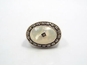 Vintage Sterling Silver Marcasite Border Mother of Pearl Oval Ring, size 6.5