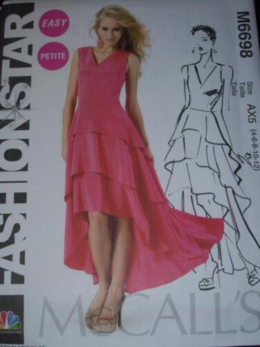 McCALL/'S #M6698 LADIES RUFFLED TUXEDO STYLE PROM-COCKTAIL GOWN PATTERN  4-20FF