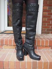 HOT! DONALD PLINER LISA BARCO 23 INCH OVER THE KNEE LEATHER BOOTS SIZE 9.5 BLACK