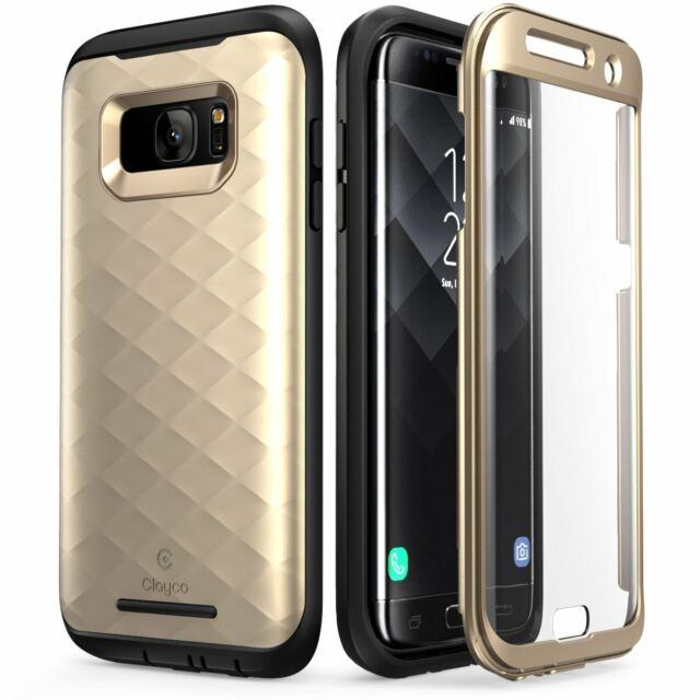 pretty nice f5e58 39a97 Galaxy S7 Edge Case Cover Full Body Rugged With Built-in Screen Protector  Gold