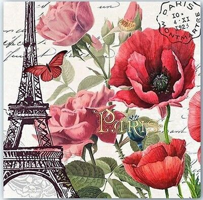 TWO (2) Toujours Paris, Eiffel Tower Paper Cocktail Napkins Paper Crafts