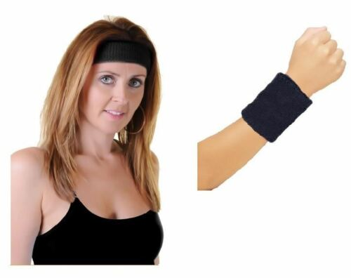 Ladies Head Band And Towelling Wrist Band Set Yoga Dance Tennis Sweatband 80s
