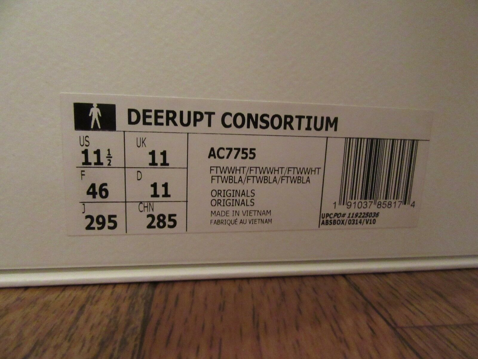 ADIDAS DEERUPT CONSORTIUM Size 11.5 White Grey AC7755 Brand New In Box NIB DS