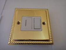 GEORGIAN STYLE SWITCH SOCKET CONNECTION UNIT 13A - POLISHED BRASS FINISH - NEW