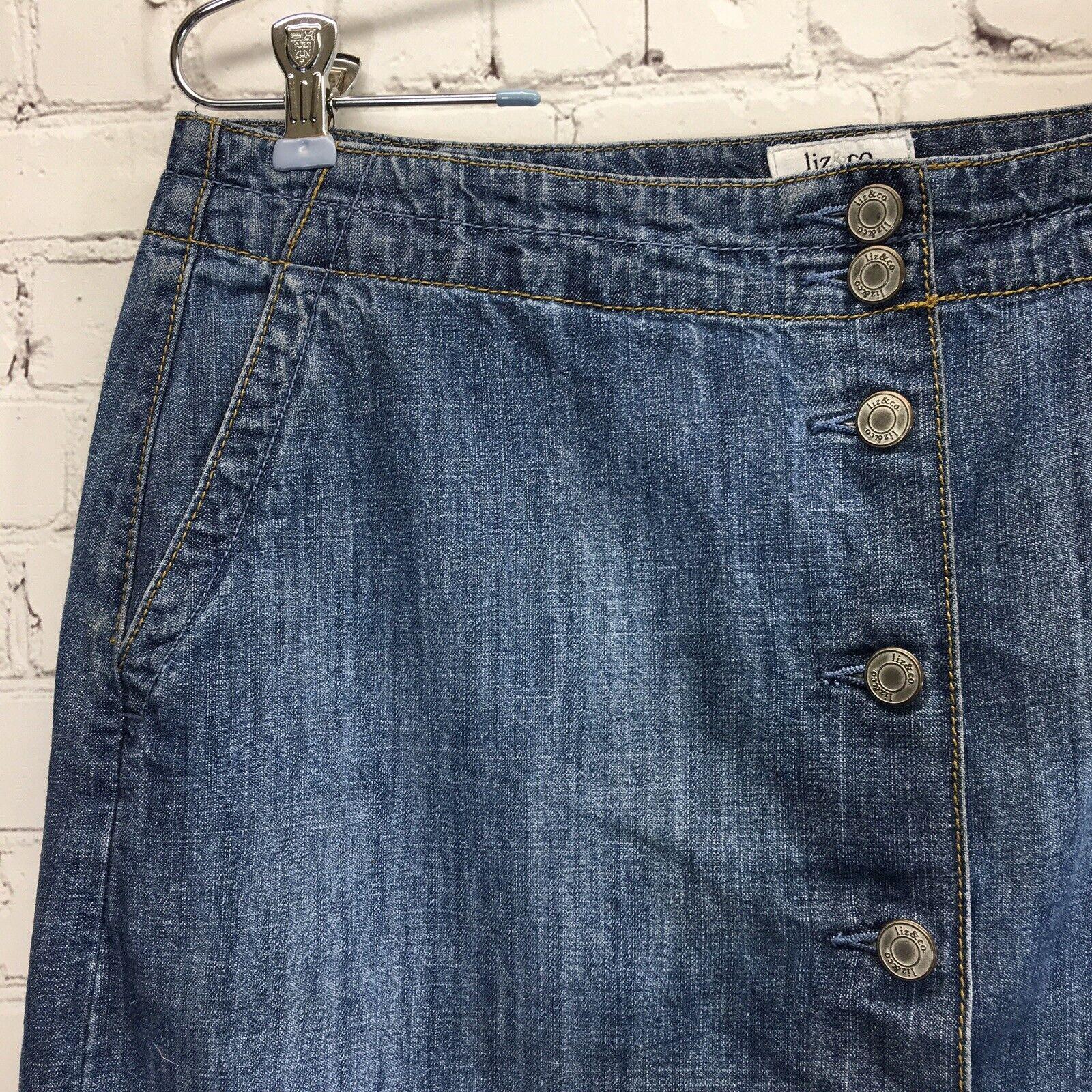 Liz & Co Button Front Denim Skirt Womans 10 Mediu… - image 2