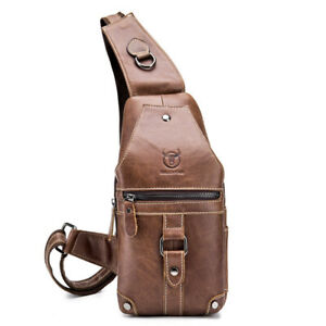 Men-Genuine-Leather-Chest-Sling-Shoulder-Bag-Cross-body-Waist-Pack-Personalized