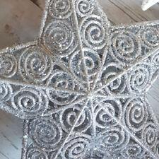 ed2b3eb86e66 Glitter 20cm, 30cm christmas Tree Star Topper Silver Champagne Gold White  Decor