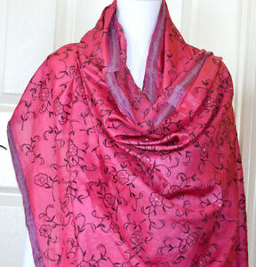 Silk-Vintage-Dark-Pink-purple-Color-Embroidered-Long-Stole-Wrap-Dupatta-Veil