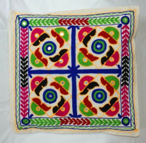 """Indian Suzani Applique Ethnic Vintage Cushion Covers 16/"""" Elephant Mirror Mandala"""