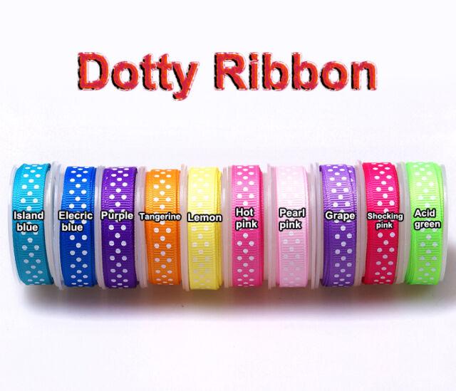 "5/50/100yards 3/8"" 10mm swiss dotty grosgrain ribbon wrap hairbow lot ribbon CA"