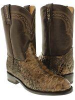 Men's Genuine Brown Python Snake Skin Cowboy Boots Western Exotic Biker Roper