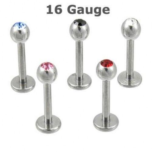 "10 16g CZ Gem Labrets//Monroes Lot Lip Rings 3//8/"" Shaft"