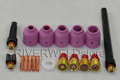 TIG Gas Lens Collet Body TIG Back Cap Fit TIG Welding Torch SR WP 9 20 25 18pcs