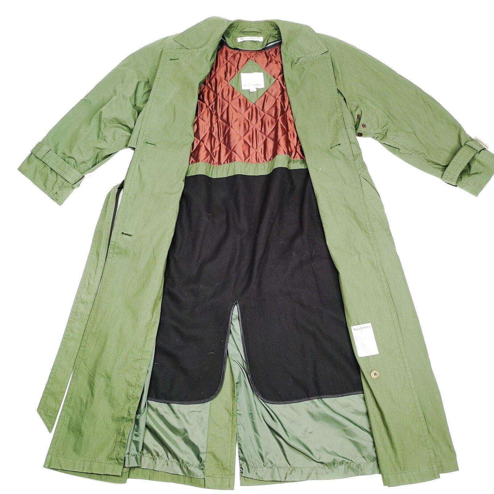 MISTY HARBOR Trench Coat Jacket 8 Olive Green - image 2