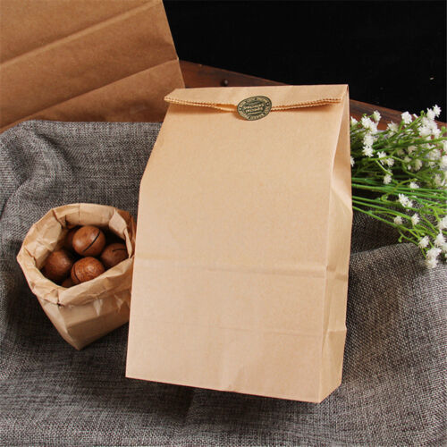 10pcs Vintage Brown Kraft Paper Bags Gift Food Bread Candy Party Bags HQ