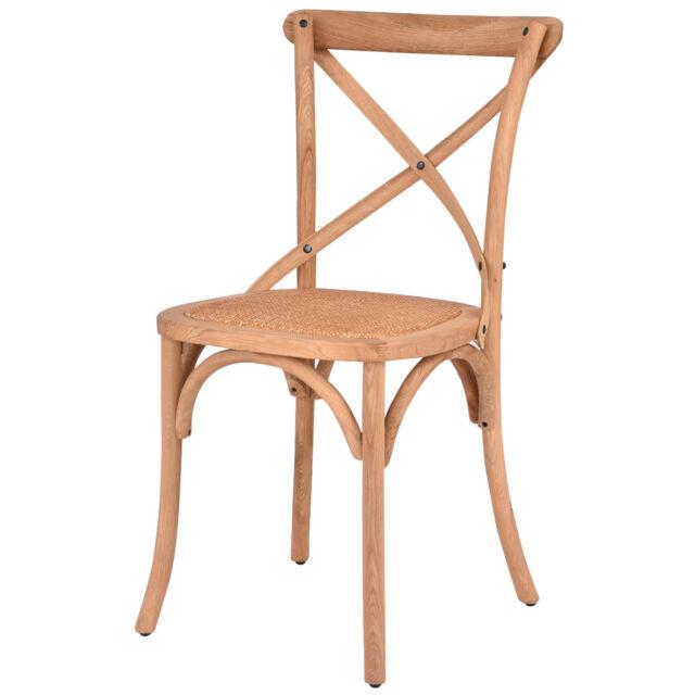 Cross Back Dining Side Chair Rattan Seat Oak Frame Kitchen Furniture Natural