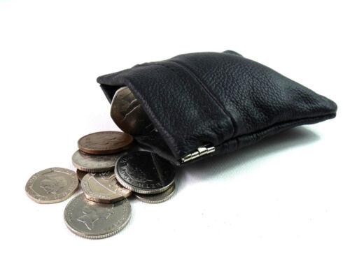 Uomo Donna Nero Vera Pelle Moneta Borsa Portafoglio Borsetta