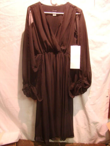 NEW WOMENS ASHRO BLACK V NECK SHEER OPEN SLEEVE DRESS SIZE SMALL