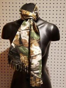 New-Handmade-Women-039-s-Men-039-s-Green-Camouflage-Fleece-Fringed-Winter-Scarf