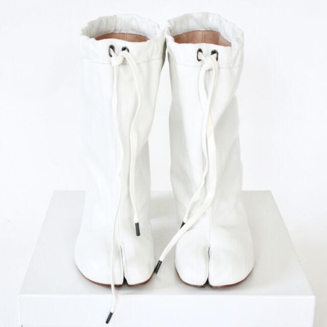 57c7fb0f918 MAISON MARTIN MARGIELA split toe white leather high heel shoes tabi boots  36 NEW