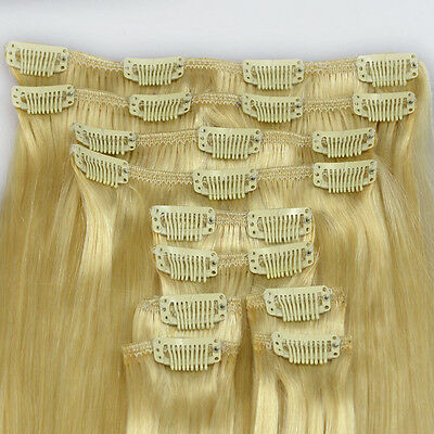 """Full Head 180g/set #613 Straight 20""""Long Remy Clip In 100% Human Hair Extensions"""