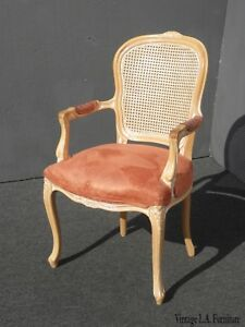 Miraculous Details About Vintage French Provincial Cane Back Off White Accent Chair Coral Fabric Evergreenethics Interior Chair Design Evergreenethicsorg