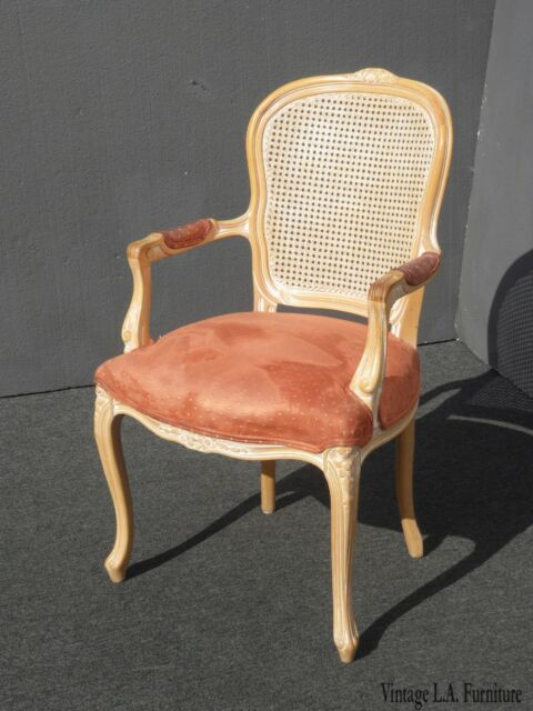 Vintage French Provincial Cane Back Off White Accent Chair Coral