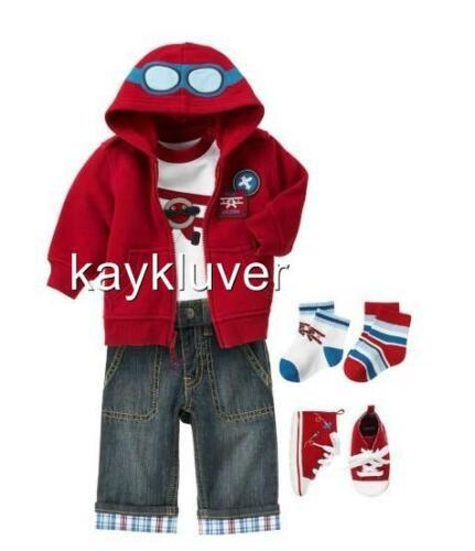 "NWT COOL BABY BOY CLOTH SET 3 PIECES ROMPER COAT JACKET JEANS /""AEROPLANE/"" 3-30M"