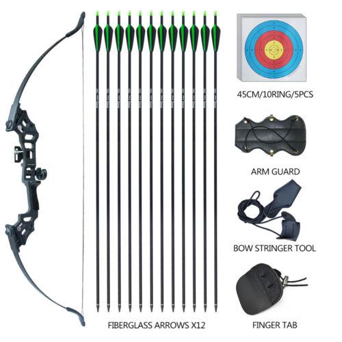 "30-50lb 51/"" Archery Takedown Recurve Bow Kit Arrows Targets Set Practice Adult"