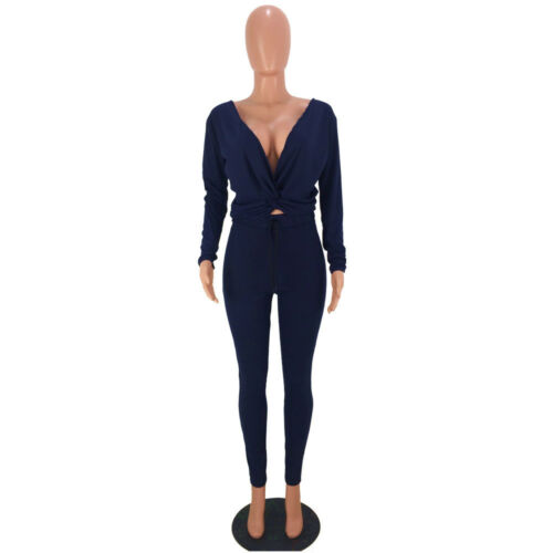 Women V Neck Long Sleeve Bodycon Solid Rib Club Casual Long Jumpsuit 2pcs
