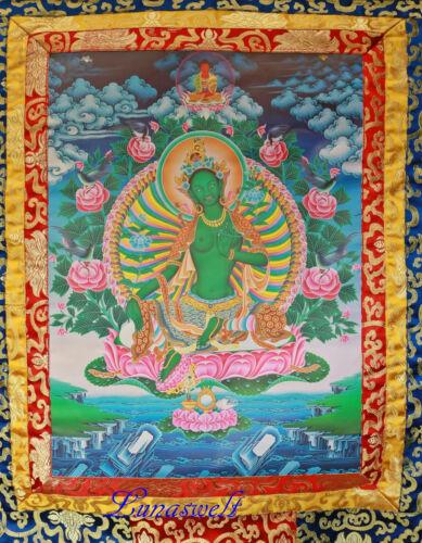 Thangka mit traditionellem Brokatrahmen Grüne Tara 100 x 60 cm
