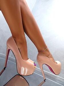 Unique Nude Elegant Damen Plateau Sexy High Heels L71 Pumps Schuhe
