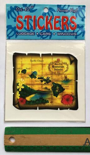 """Hawaiian Car Window Vinyl Sticker 4/"""" Decal Vintage Hawaii Islands Map NIB"""