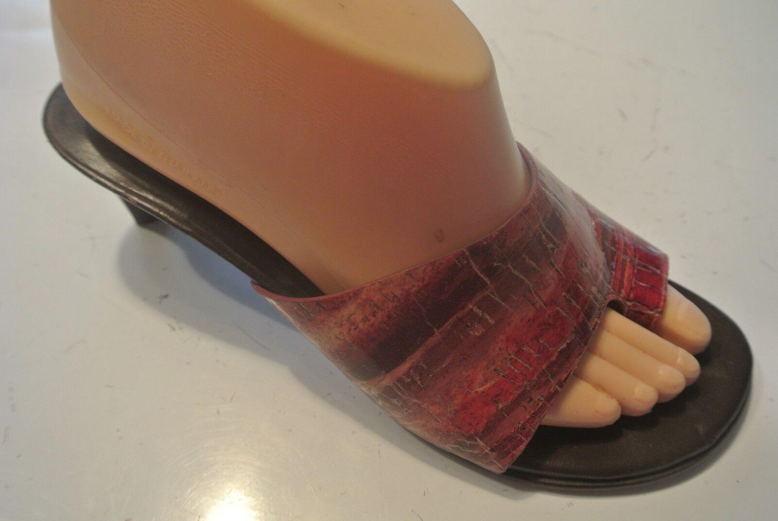Donald Pliner Velda Red Orange Slide Sandals Toe Wrap Shoes Size 6.5 @ cLOSeT