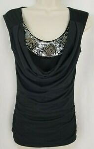 Daytrip-Womens-Tank-Top-XS-Black-Sequins-Beaded-Ruched-Sleeveless-Scoop-Neck