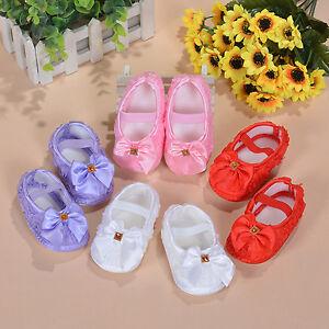 Bebe-Filles-Chaussures-fleur-en-blanc-rose-rouge-rouge-mauve-0-3-3-6-6-9-mois