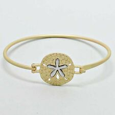 Sand Dollar Bangle Bracelet MATTE GOLD Clasp Sealife Beach Starfish Ocean Surf