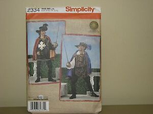 Simplicity costume pattern 2334 sz L XL musketeer cape puffy shirt ... eecbdc50aab