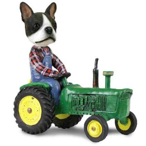 Boston Terrier on a Tractor Stone Resin Figurine Statue