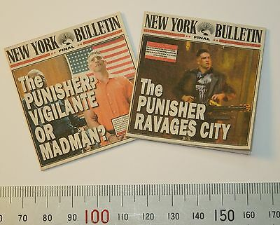 1//12 Scale Newspapers New York Bulletin 2 Pack for Avengers and other Marvel